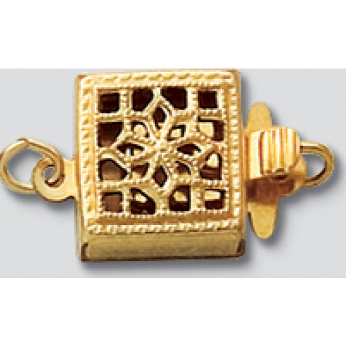 8.5MM FILIGREE SQUARE SINGLE STRAND CLASP – GOLD FILLED