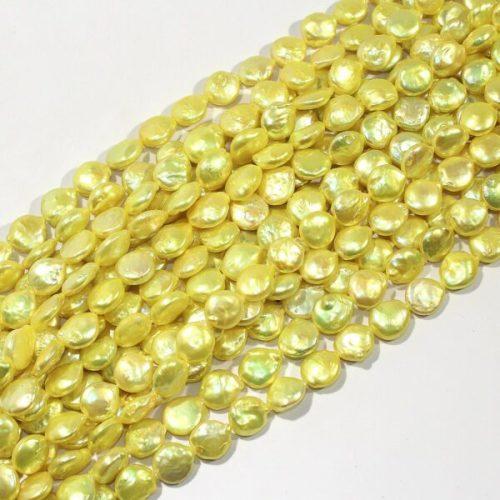 yellow fresh water coin pearl